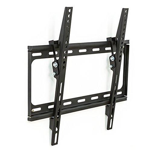 TecTake 401163 TV Wandhalterung für Flachbildschirme, neigbar, bis VESA 400x400, passend für 81cm (32 Zoll) bis 140cm (55 Zoll) Diagonale, belastbar bis 90kg, schwarz