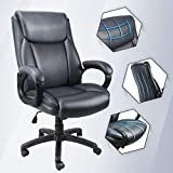 Ergousit Ergonomic Leather Executive Office Chair, High Back Home Office & PU Leather Desk Chair Swivel Managerial Task Chair Lumbar Support