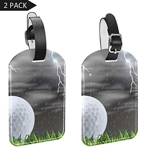 LORVIES gras veld golfbal en bliksem bagage tags reizen etiketten tag naam kaart houder voor bagage koffer tas rugzakken, 2 stuks