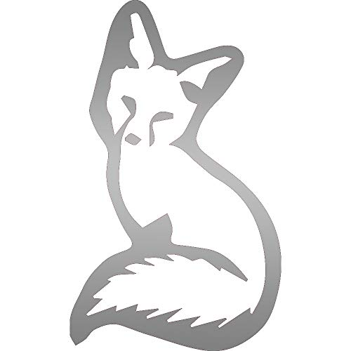 USC DECALS Young Sitting Fox (Metallic Silver) (Set of 2) Premium Waterproof Vinyl Decal Stickers for Laptop Phone Accessory Helmet Car Window Bumper Mug Tuber Cup Door Wall Decoration