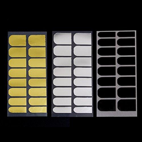 3 vel 2015 hete verkopende diy nagel stickers decor patch folies armor wraps decoratie 3 metalen kleuren zwart goud zilver schoonheid zwart en goud en zilver