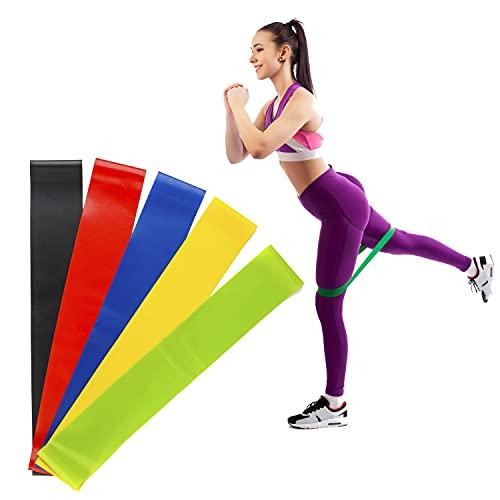 Set di 5 fasce elastiche per fitness di resistenza per stretching, per donne e uomini, 5 set di fasce elastiche per stivaletti (colorate) fino a 12 posizioni in esercizi