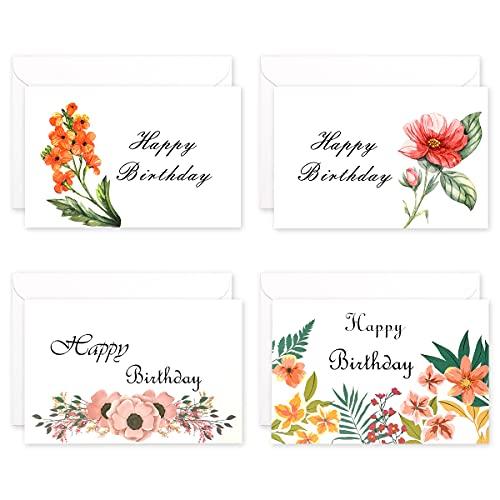 Xiangmall 12 Pezzi Biglietti di Auguri di Buon Compleanno con Buste e Adesivo Fiori Carta Auguri Acquerello per Uomini Donne Bambini (4 pcs)