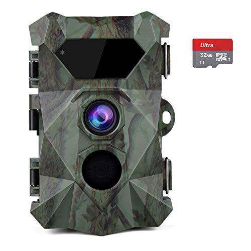 COOLIFE Fototrappola 2.7K 20MP Fotocamera Caccia Visione Notturna Fino a 35m Videocamera da Caccia con 46pcs IR LEDs,velocità di Trigger 0,1 s, Impermeabile IP66, Supporto Fino a 512GB