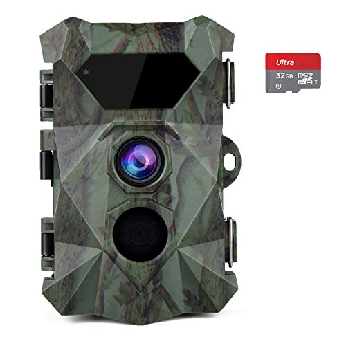 COOLIFE Caméra de Chasse 2.7K 20MP Vision Nocturne 35m Vitesse de Déclenchement 0.1s Caméra Chasse Infrarouge 46 pcs Low Glow IR LEDs Camera de Chasse Nocturneavec Carte 32G