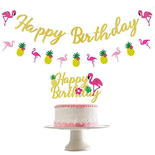 3 PCS Flamingo Birthday Decorations- Glitter Flamingo Happy Birthday Banner Flamingo Happy Birthday Cake Topper Flamingo Pineapple Garland, Tropical Birthday Decorations, Hawaiian Luau Birthday Decor