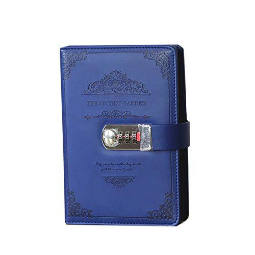 Lock Tagebuch Schreib-Notizbuch, A5 Leder Reisetagebuch Mit Schloss Code Vintage Passwort-Notizbuch Tagebuch Planer Für Persönliches Geheimes Tagebuch,Blau