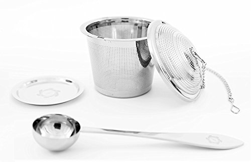 2 Pack Ultra Fine Loose Leaf Tea Ball Infuser Strainer Steeper, Including Tea Scoop, Drip Trays, Long Chain Handle for Easy Brewing All Fine Teas, Spices and Seasonings.