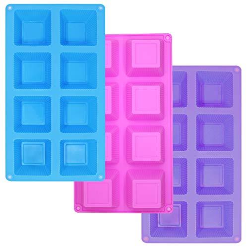 3 paquetes de silicona Mini molde cuadrado para pastel de 8 cavidades, tazas para hornear SourceTon Tazas para muffins Moldes para pastel para tazas para muffins, pastel de café, cupcake, brownie- rosa, morado, azul