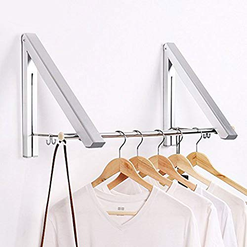 LANRCYO SRHOME Indoor/Outdoor Wall Mounted Folding Clothes Drying Rack- Clothes Hanger -Aluminum Folding Clothes Hanger Hanging on Bathroom,Bedroom Balcony and Laundry,Home Storage Organizer (2 Pack)