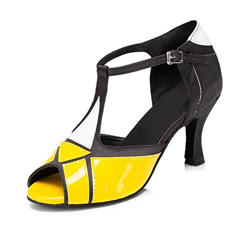 MINITOO Damen Latein Salsa T-Strap Classic Gelb Synthetik Performance Tanzschuhe Party Sandalen EU 38