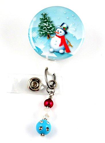 Christmas Snowman Holding a Tree Mylar- Nurse Badge Reel - Retractable ID Badge Holder - Nurse Badge - Badge Clip - Badge Reels - Pediatric - RN - Name Badge Holder