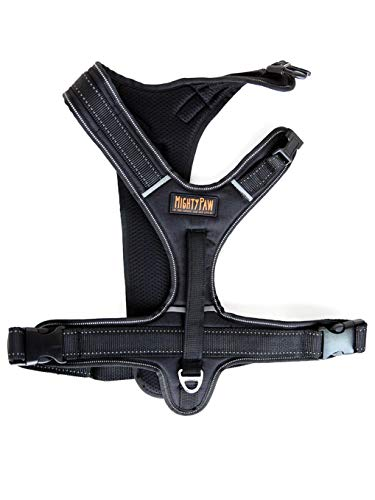 Mighty Paw Sport Harness, No-Pull Front Attachment Dog Harness, Neoprene Padded Lining, Reflective Stitching, 2 Leash Attachment Options (Medium, Black)