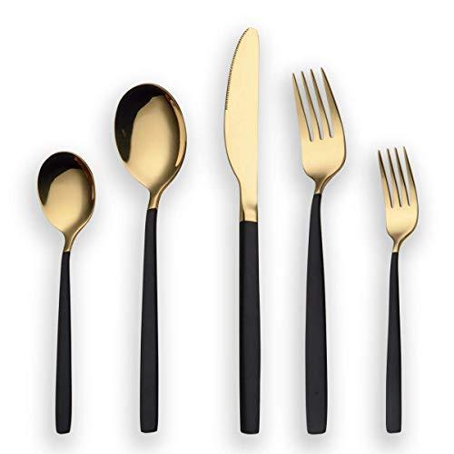 Berglander 30 Stück Titan schwarz Besteck Set, schwarzer Griff mit goldenen Mund Besteck Set, schwarz und golden Besteck Service für 6 (schwarz, Golden)