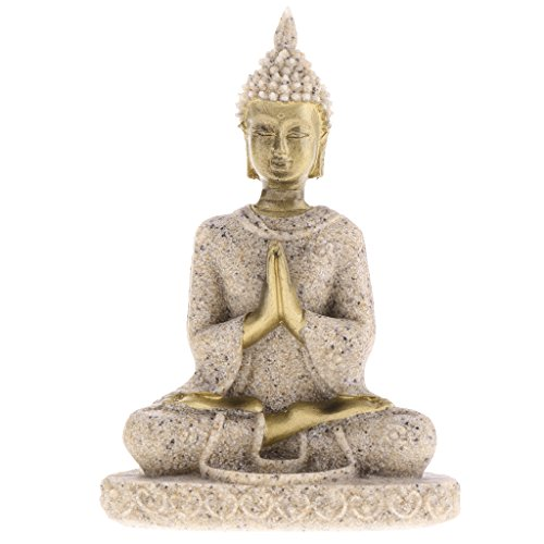 The Hue Sandstone Meditation Buddha Figur Statue Sculpture Hand Carved Figurine #3