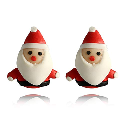 Jia Hu 1 par de pendientes de Navidad con diseño de Papá Noel de arcilla suave hecha a mano