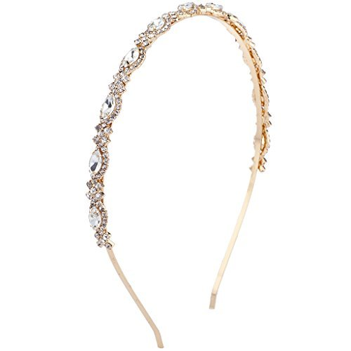 Lux Accessories Bridal Occasion Crystal Rhinestone Statement Tiara Headband (GOLD)