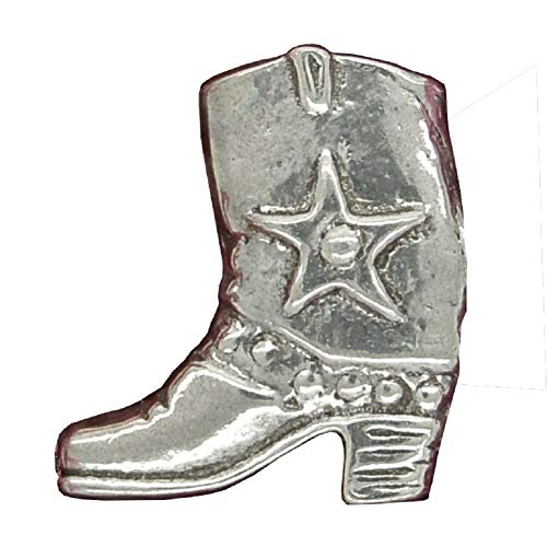Brosche Cowboy-Stifel. Hand gegossen von William Sturt aus Deutsch Zinn.