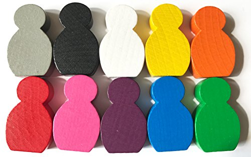 Spieltz 52344: Große beklebbare Spielfiguren aus Holz für Brettspiele, Größe 21x34x8 mm, 10 Stück farblich gemischt (weiß, gelb, orange, rot, blau, grün, pink, lila, grau, schwarz).