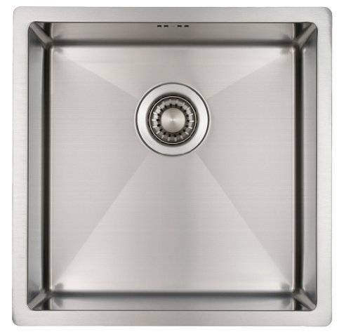 Spüle Edelstahl 40 cm – Spülbecken Küche Edelstahl Mizzo Design 4040 – Eckige Küchenspüle Flächenbündig/Unterbau - Edelstahlspüle (2019 model)