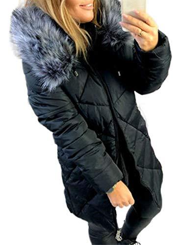 CORAFRITZ Damen Winterjacke, dick, gesteppt, langärmelig, warm, Fellkragen, mit Kapuze, Parka Gr. Small, Schwarz