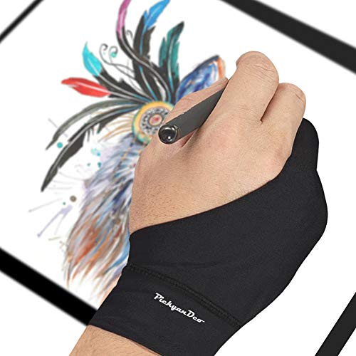 PickyanDco Artist Glove for Drawing Tablet, iPad Smudge Guard, Two-Finger, Reduces Friction, Elastic Lycra, Good for Right and Left Hand (L)