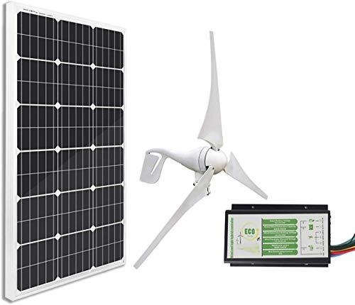 ECO-WORTHY 12 Volt 500 Watt Wind Solar Kit: 12V / 24V 400W Windkraftanlage + 12V 100W monokristallines Solarpanel + 24cm Kabel für Zuhause