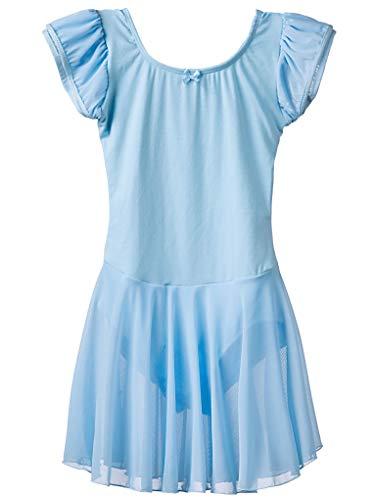 Dancina - Leotardo Vestido de Baile en Algodón y Lycra para Niña 8-9 años Azul Claro
