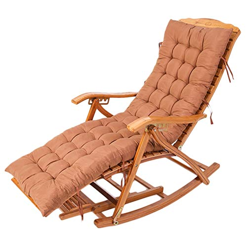 HWF Patio Rocking Chairs with Brown Cushion, Wooden Porch Rocker Chair for Garden Yard Lawn Balcony Backyard Recliner Lounger Chair, Loads 330lbs