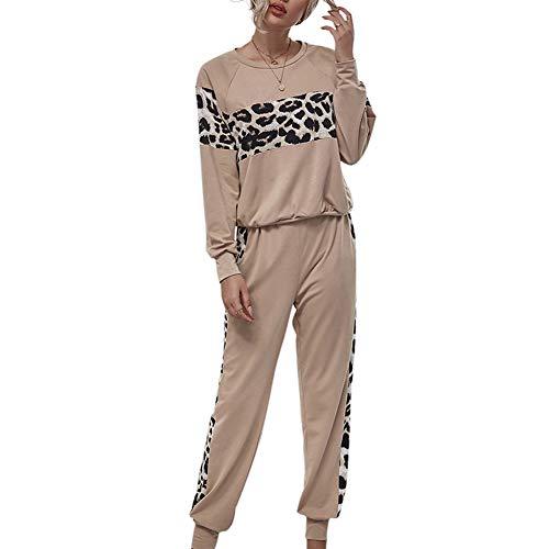 Conjunto de chándal para mujer de leopardo de manga larga de patchwork, traje de dos piezas para trotar