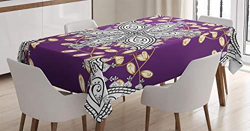 ABAKUHAUS Color de Malva Mantele, Los pétalos Florales de la Vendimia, Estampa Personalizada Vívida No Destiñe Apto Uso Exterior, 140 x 240 cm, Tierra Púrpura Amarillo