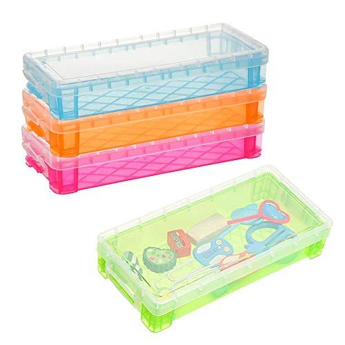 4 Piezas Estuches Transparentes para Lápices, Caja de Plástico para Lápices Con Tapa, Transparente El Plastico Multifuncional Caja de Lápices para Niños, Oficina Escolar (Color Aleatorio)