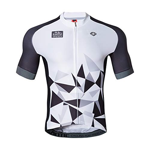 Santic Cycling Jersey Men's Short Sleeve Tops Mountain Biking Shirts Bicycle Jacket with Pockets White XXL