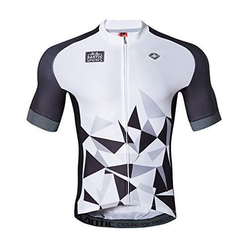 Santic Cycling Jersey Men's Short Sleeve Tops Mountain Biking Shirts Bicycle Jacket with Pockets XL
