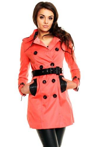 L´olive verte Schicker Damen Trenchcoat Mantel Kurzmantel Jacke Blazer / 4 Farben S (34) Lachs