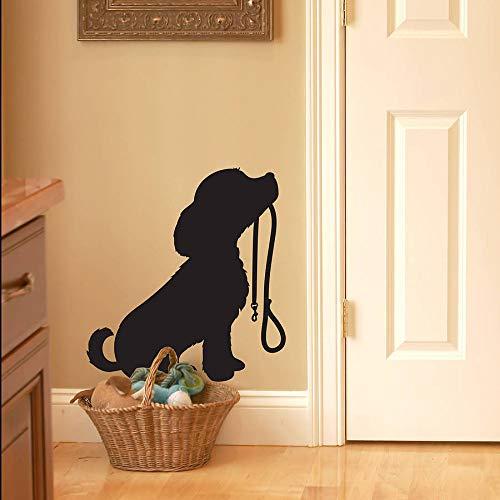 Niedlichen Hund Silhouette Wandtattoos Wohnzimmer Wohnkultur Welpen Mit Blei Wandaufkleber Pet Shop Fenster Wanddekor Tier 60x56 cm