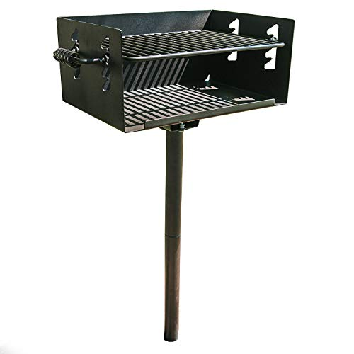 TITAN GREAT OUTDOORS Single Post Jumbo Park Style Charcoal Grill for The Backyard Patio