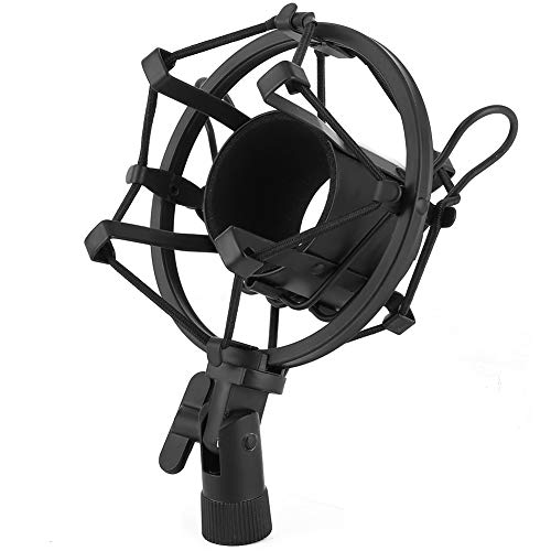 Montaje de choque, micrófono de micrófono de micrófono plástico y metal para 43-50 mm de diámetro con condensador de grabación de estudio de micrófono (negro)
