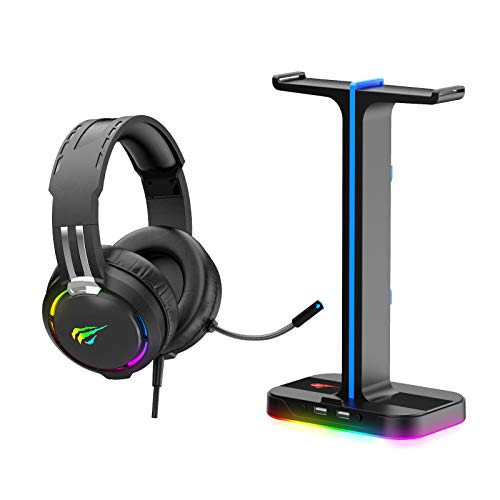 havit [2-en-1] Combo Casque Gamer et Support Casque, Porte Casque RGB avec 2 Ports USB, Casque de Gamer avec Micro Switch Casque Gaming RGB pour Gamer PC, PS4, PS5,Xbox One(TH650A)