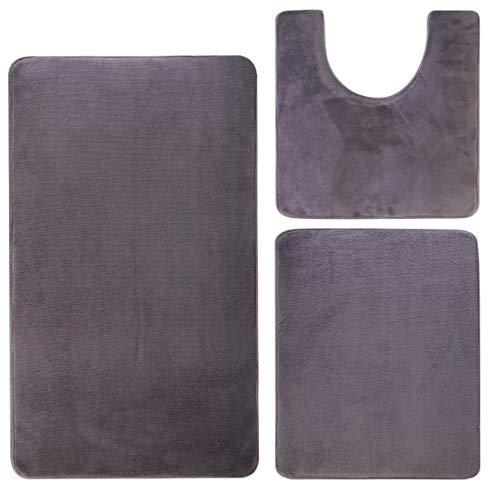 "Memory Foam Bath Mats for Bathroom Floor - 3 Piece Set - Ultra Soft Plush Non-Slip Back - Absorbent Microfiber Bathroom Rug - 32""x20"" Bath Mat - 20""x24""U-Shaped Toilet Mat - 24""x16"" Shower Mat - Gray"