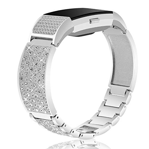 Nigaee for Fitbit Charge 2 Bands Small Large, Stainless Steel Fitbit Bands Charge 2 Fitbit Charge 2 Replacement Bands Fitbit Charge 2 Wristbands Fit bit Charge 2 Bands for Women Men Bangle 2 Silver