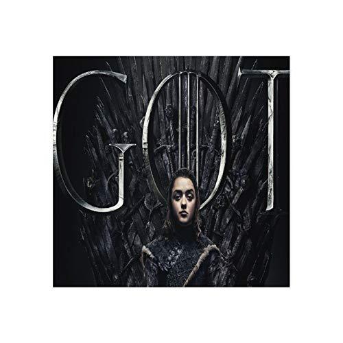 Arya Stark Game Of Thrones Temporada 8 Póster de Arya Stark Juego de Tronos, arte moderno para el hogar estirado, para dormitorio enmarcado - 20 x 20 cm