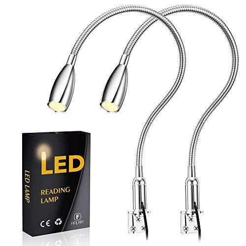 Lampe de lecture à LED,lampe de chevet à intensité variable 2 pièces,interrupteur tactile, éclairage chaud, 200 lumen/3000k/3w/110-240v AC,angle de faisceau:30 °,longueur du fil dalimentation:2m