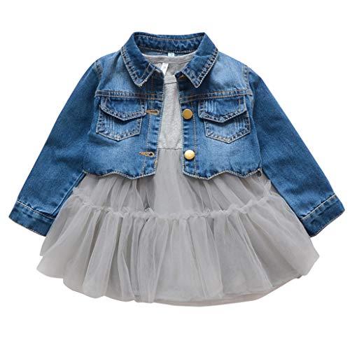 2 Piezas Bebé Niñas Conjuntos de Ropa Manga Larga Vestido Tutú Y Chaqueta de Mezclilla Jacke Primavera Otoño Gris 9-12 Meses