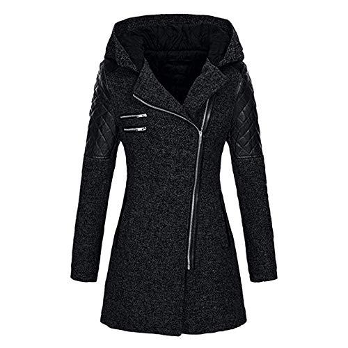 HaiDean Windbreaker dames gewatteerde dikke jas slanke warme winter moderne casual fit jas Parka jas comfortabele capuchon lange trug jas