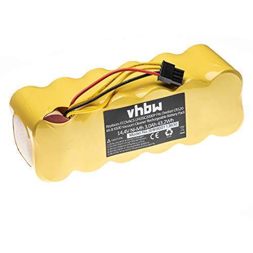vhbw Akku passend für Sichler NC-5725-919, PCR-3550UV, PCR-2000 Haushalt Saugroboter ersetzt LP43SC2000P (3000mAh, 14.4V, NiMH)