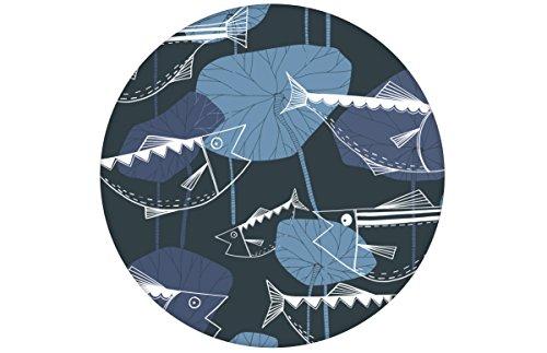 Retro visbehang hengelaars geluk in de stijl van de jaren '70 - fleece behang dieren verschillende kleuren - extravagante wanddecoratie - GMM design behang - wandbehang - wand decoratie (baanbreedte: 46,5 cm) Retro  MUSTER (20cm) paars grijs