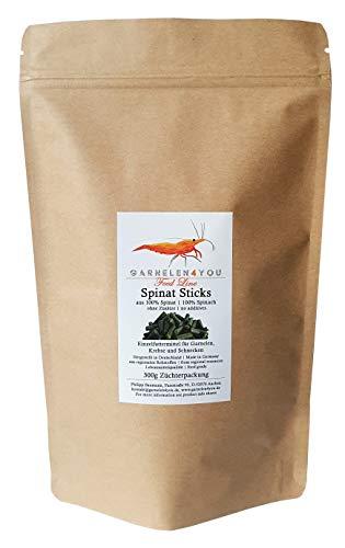 GARNELEN4YOU® Spinat Sticks, 300 g hochwertige Futter Pellets zur entspannten Fütterung von Aquarienbewohnern wie Garnelen, Krebse und Schnecken (300g)