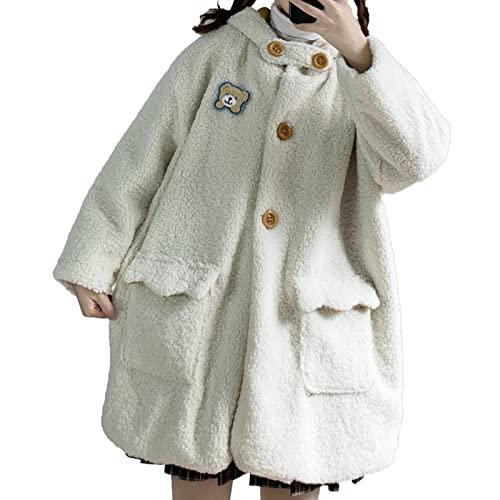 Kawaii damski zagęszczony płaszcz grochowy, dorywczo z długim rękawem pluszowa kurtka wierzchnia, zapinany na guziki, jesienno-zimowy ciepły kardigan płaszcz (Kolor : Beige, Rozmiar : One size)