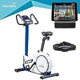 skandika Morpheus - Vélo d'appartement ergomètre - Bluetooth - Max.120 kg - 24 Programmes -32 Niveaux de résistance - Masse d'inertie 12 Kg (Blanc/Bleu)